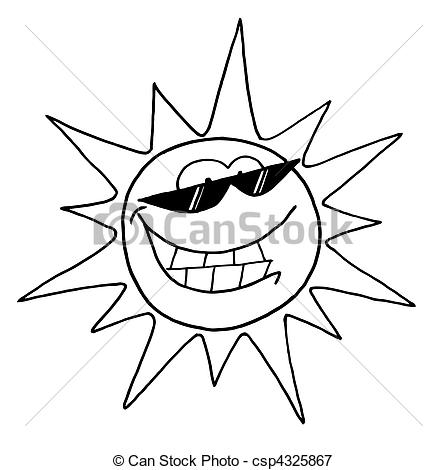 447x470 Black And White Outline Of A Cool Sun Character Wearing Vectors