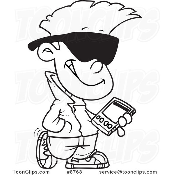 581x600 Cartoon Blacknd White Line Drawing Of Cool Kid Carrying