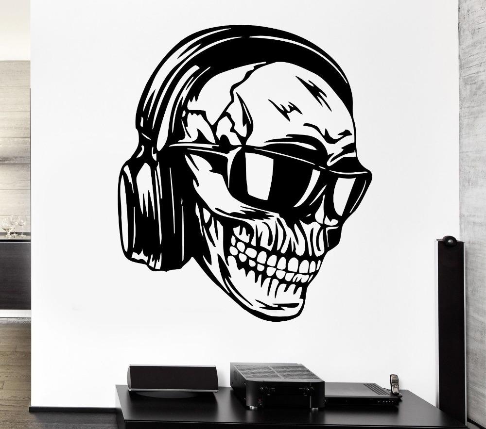 1000x884 Creative Skull Vinyl Wall Headphones Music Skull Glasses Cool