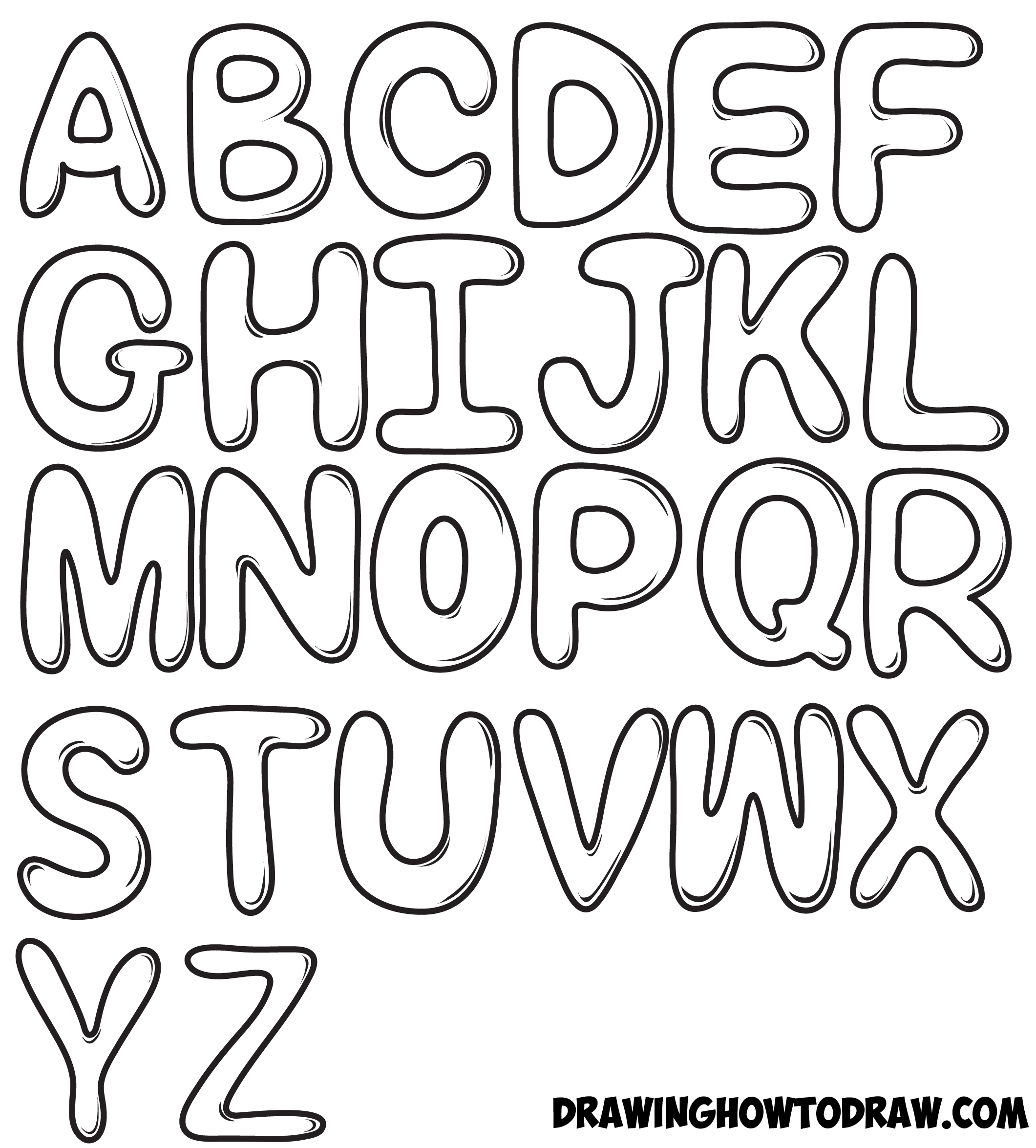 2121x2349 How To Draw Bubble Letters In Easy Step By Step Drawing Tutorial