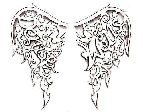 500x391 Angel Wings Tattoo Design By Denise A. Wells