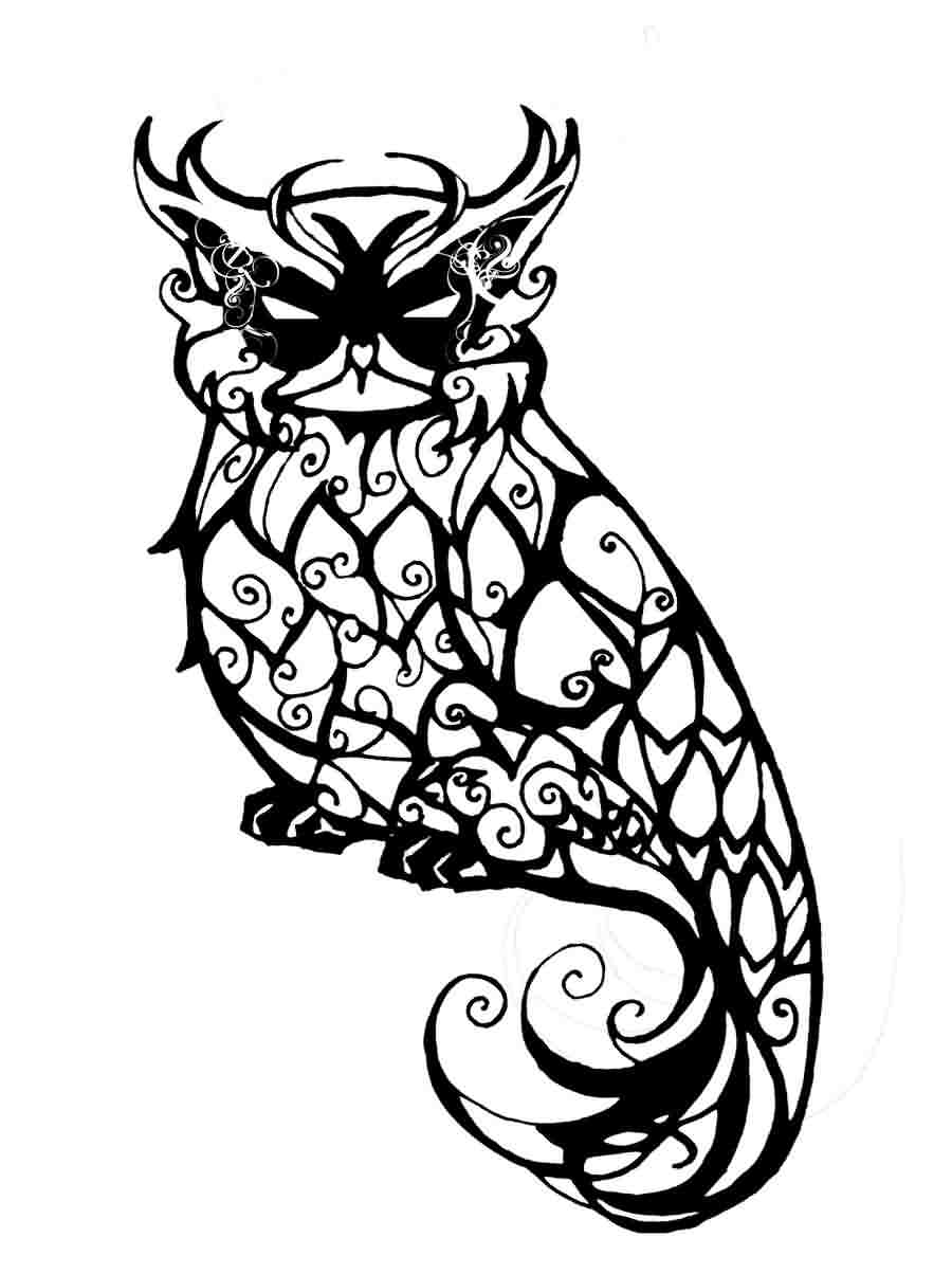 900x1204 Cool Great Horned Owl Coloring Page 30
