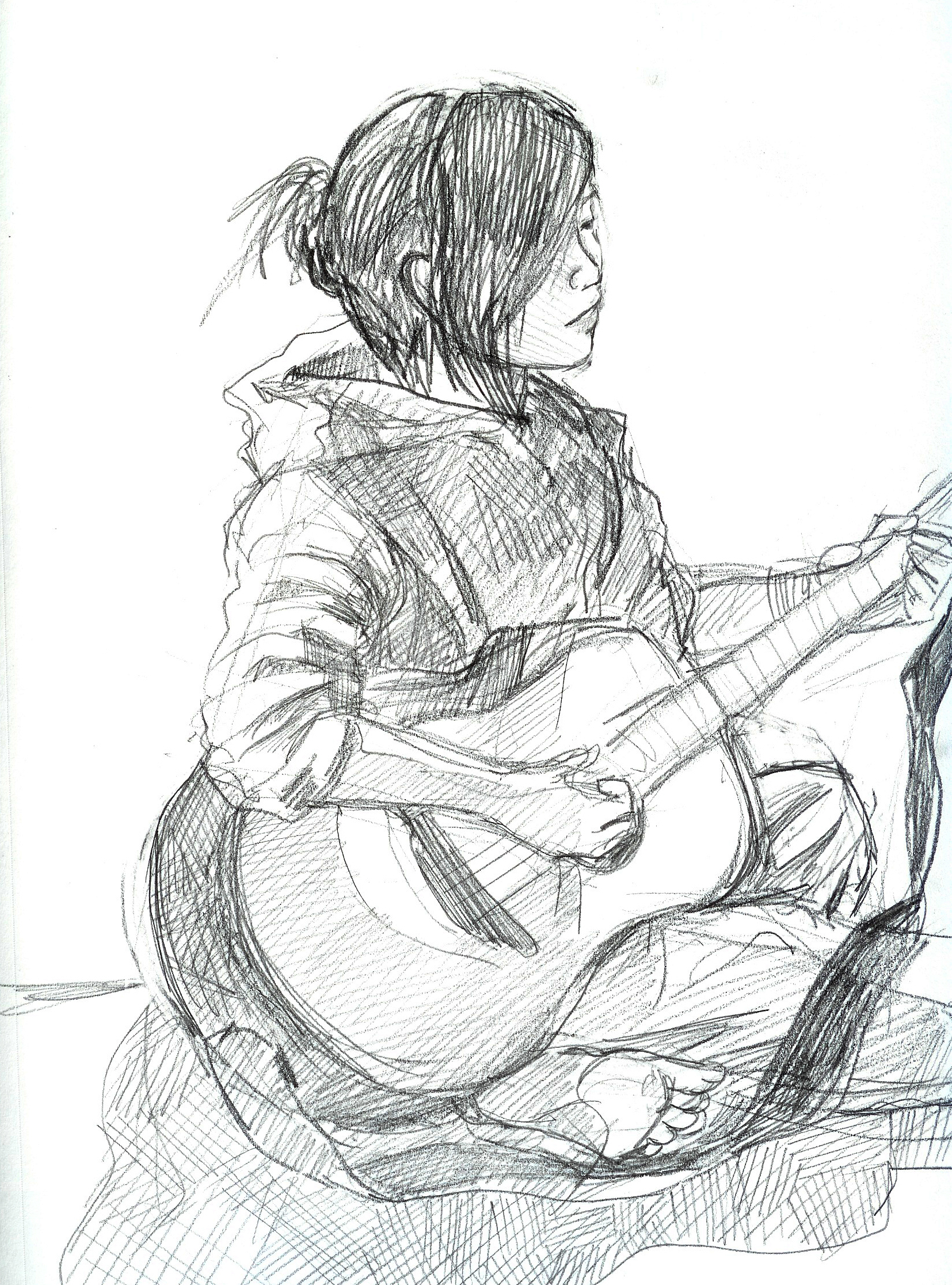 1654x2232 Cool Girl Playing Guitar Pencil Drawing Sketch Images Of Girl