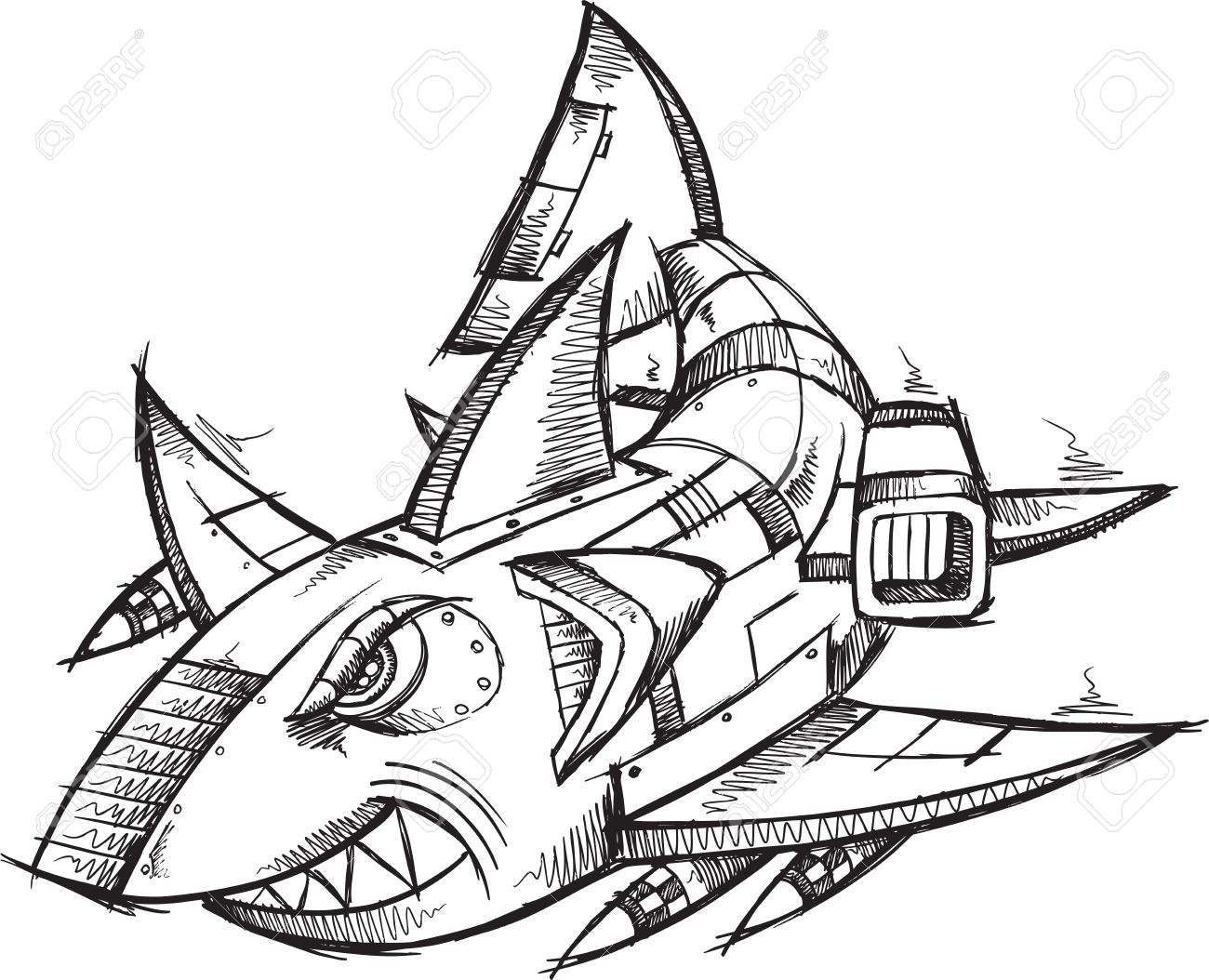 Cool Shark Drawing at GetDrawings.com | Free for personal use Cool ...