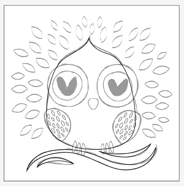 600x605 Create A Simple, Owl, Tote Design In Illustrator For Hot Foil Printing