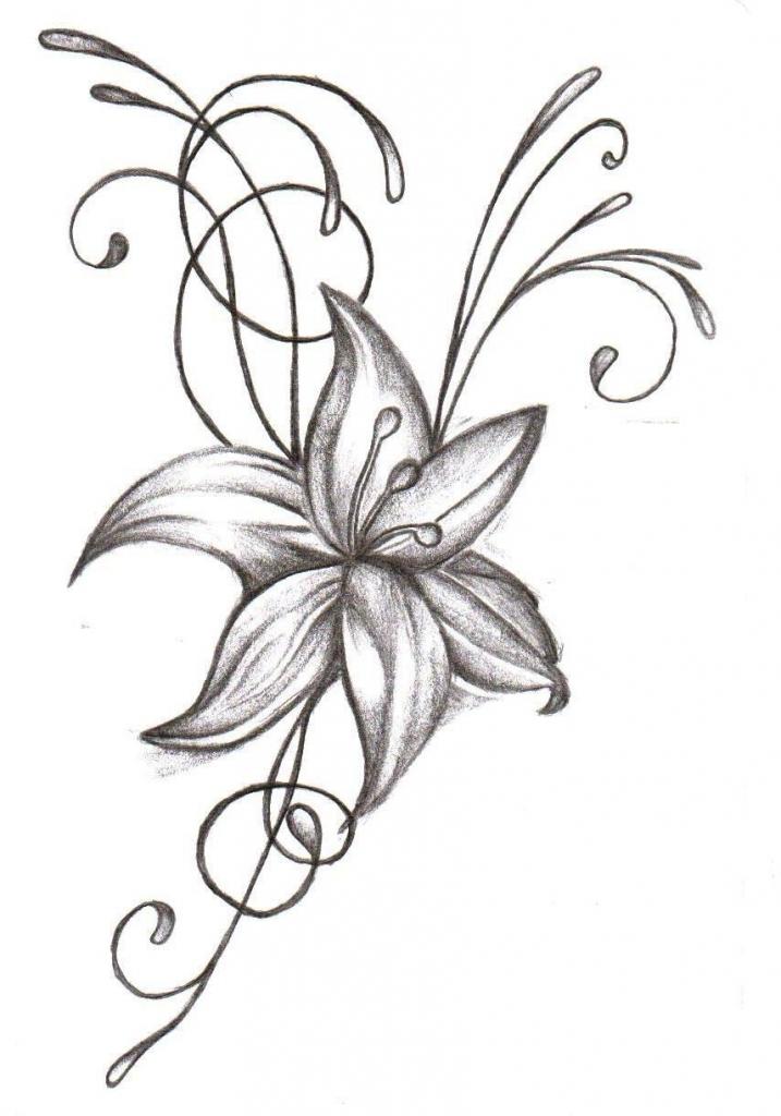717x1024 Flower Tattoo Drawings Simple Drawing Designs Cool Easy Designs