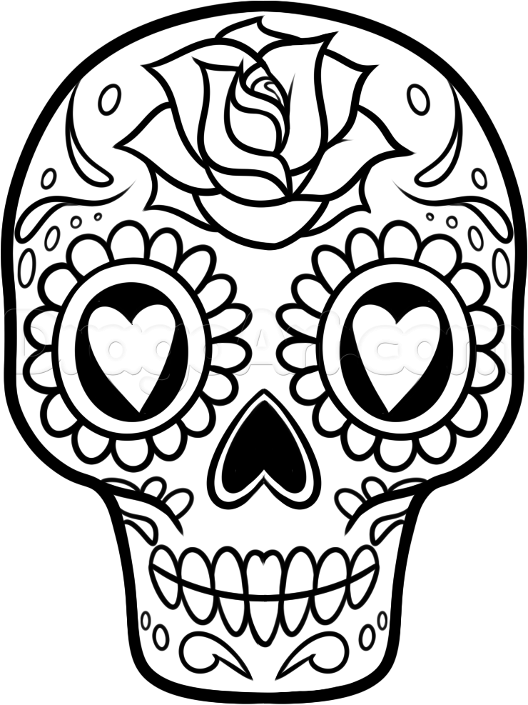 740x987 How To Draw A Sugar Skull Easy Step By Skulls Pop