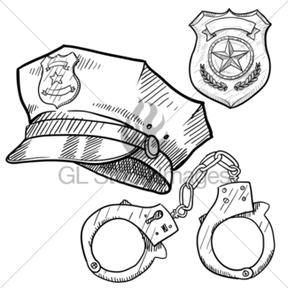 325x325 Police Hat And English Bobby Hat Sketch Gl Stock Images
