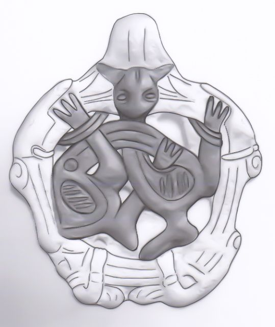 539x640 Drawing Of Borre Style Gripping Beast Pendant. 34 Mm, Ukraine. See