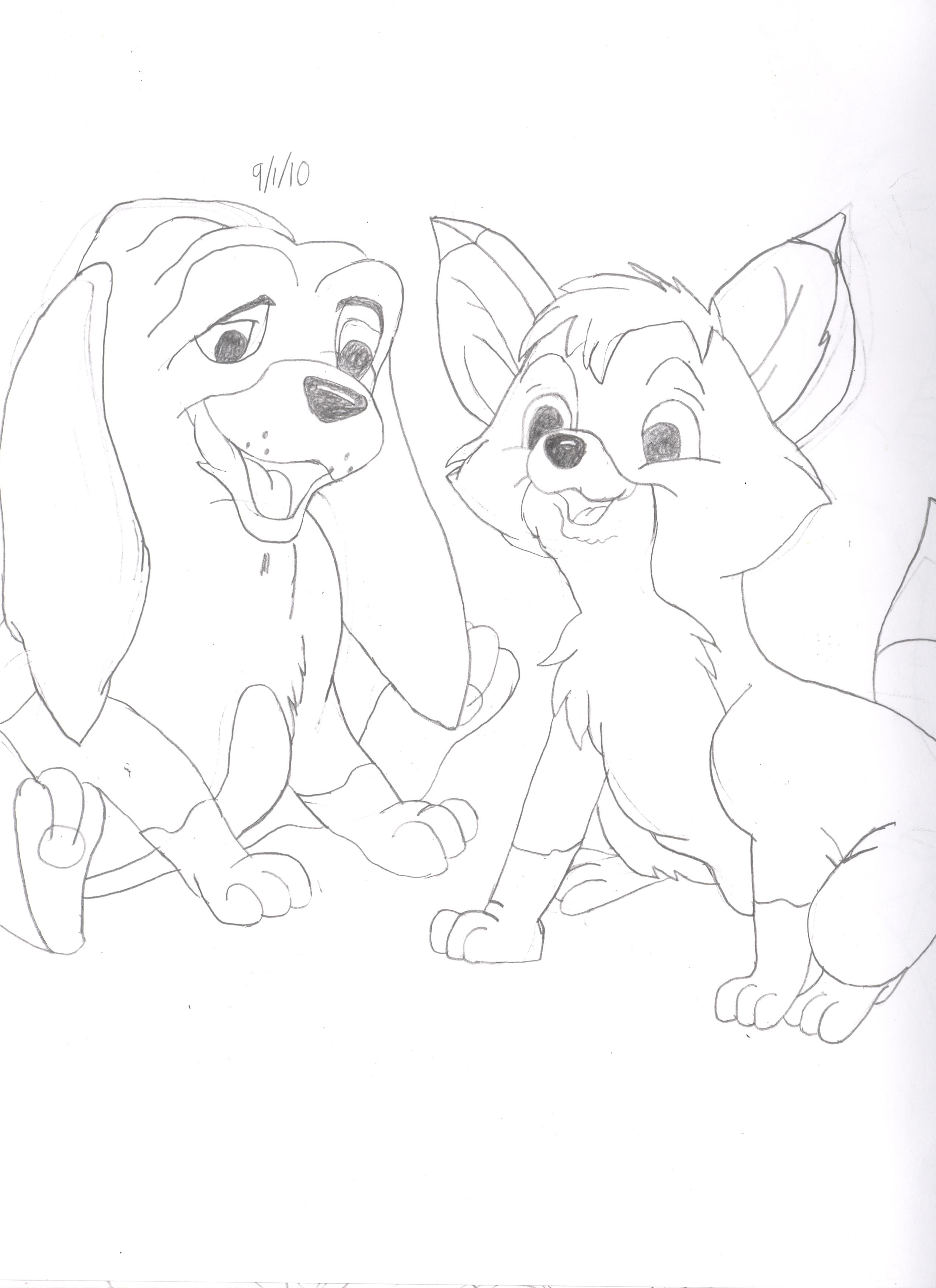 2539x3496 Drawing Of Tod Amp Copper Disney Drawings Disney
