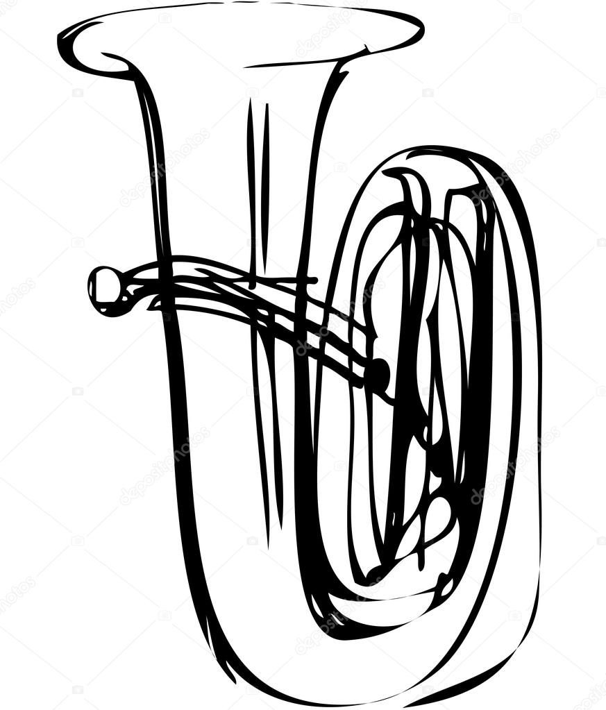 873x1023 Sketch Of The Copper Tube Musical Instrument Stock Vector