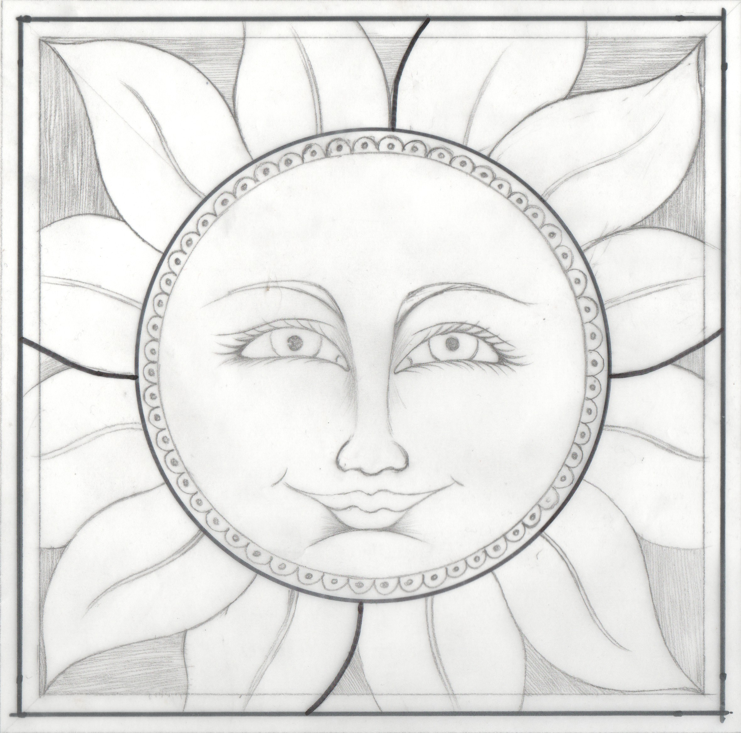 2360x2336 Free Stained Glass Pattern For Lead Or Copper Foil, Painted