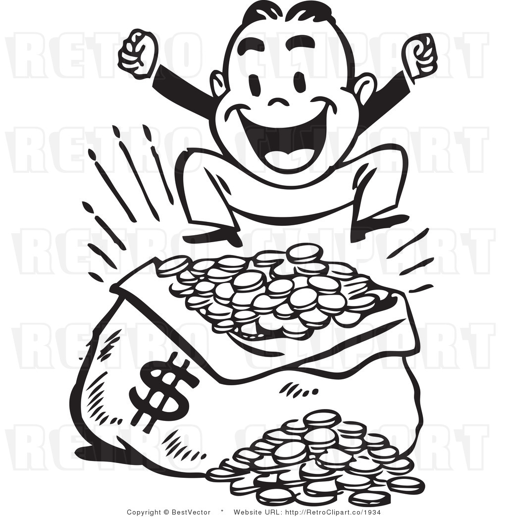 1024x1044 Excited Retro Man Jumping Up And Down Beside Large Sack Of Money