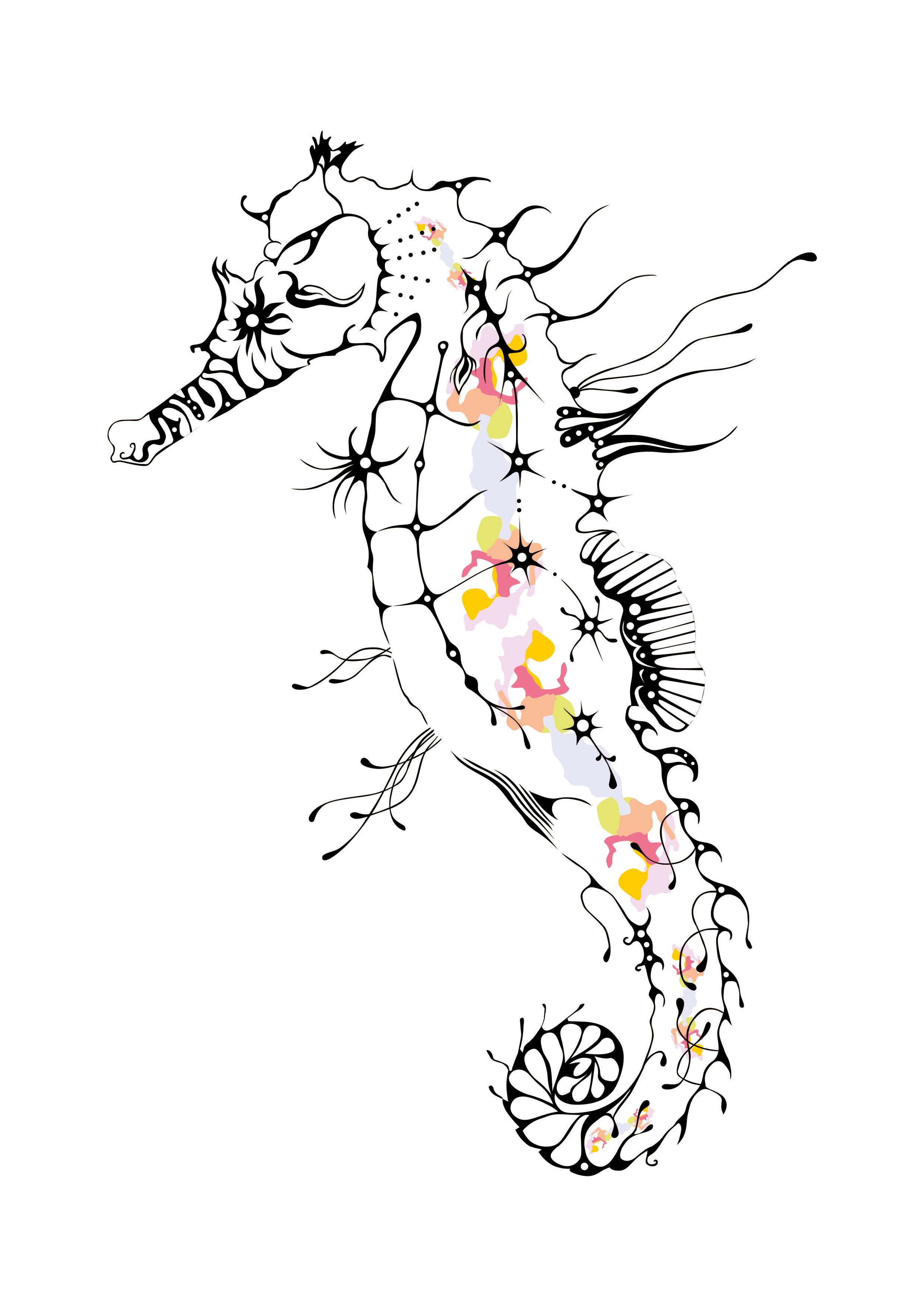 2480x3508 Seahorse, Drawing, Corel Draw Artwork Seahorse Drawing