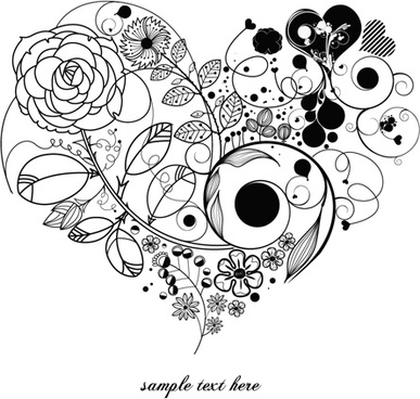 387x368 Floral Heart Background For Corel Draw Free Vector Download