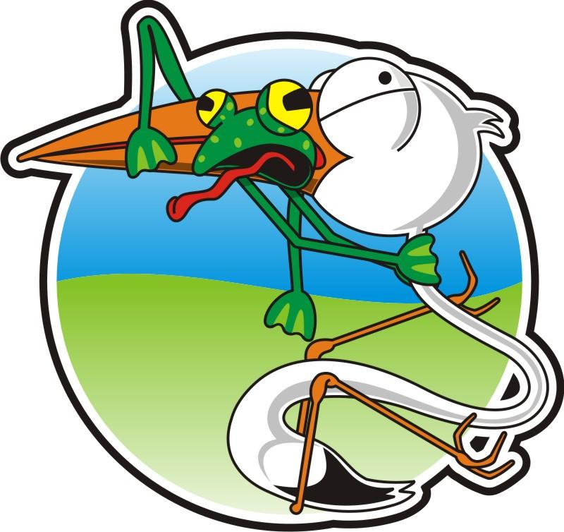 800x754 Stork With Frog Cartoon