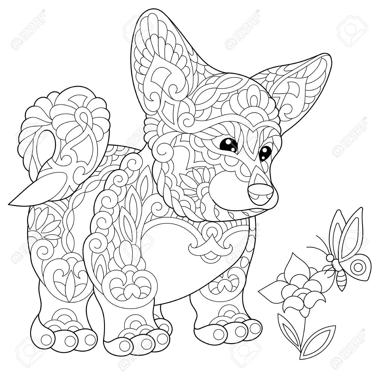 1300x1300 Coloring Page Of Welsh Corgi Dog And Butterfly On A Flower