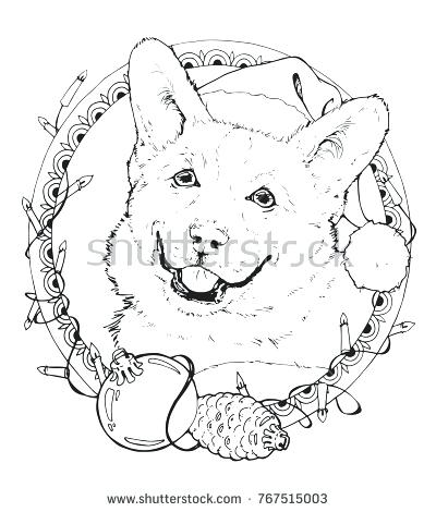 400x470 Corgi Coloring Pages Coloring Page With Corgi In The Decorative