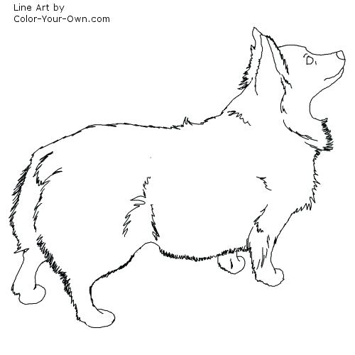 500x500 Corgi Coloring Pages Fluffy Corgi Dog Line Art Corgi Dog Coloring