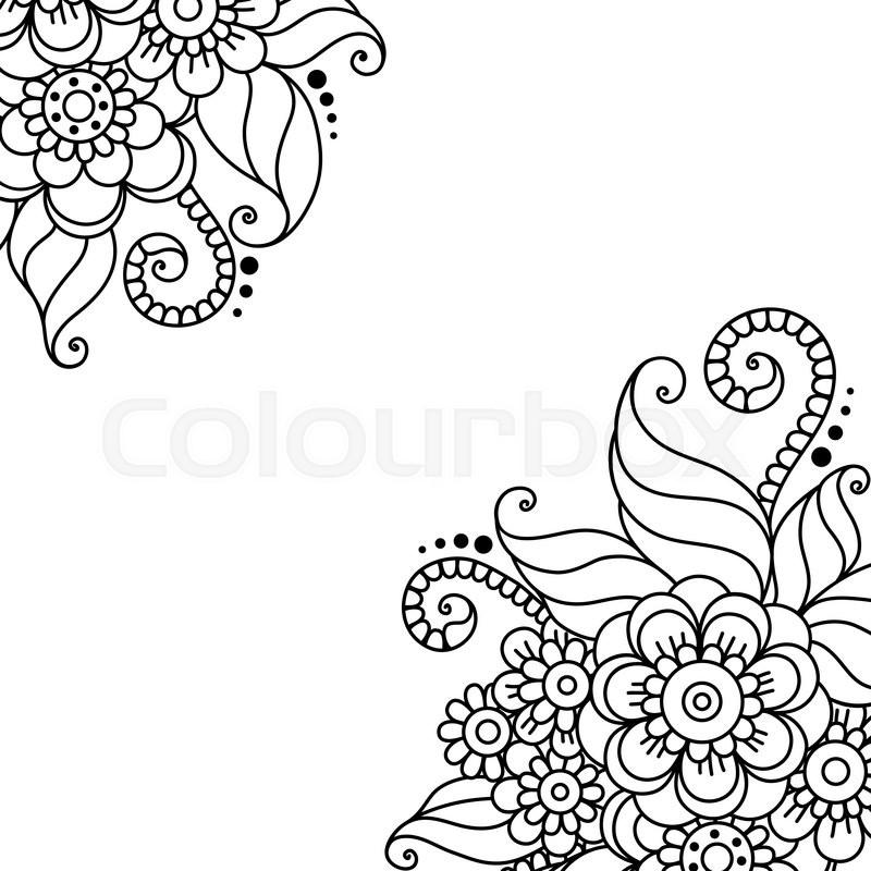 800x800 Black Flower Corner, Lace Ornament Stock Vector Colourbox