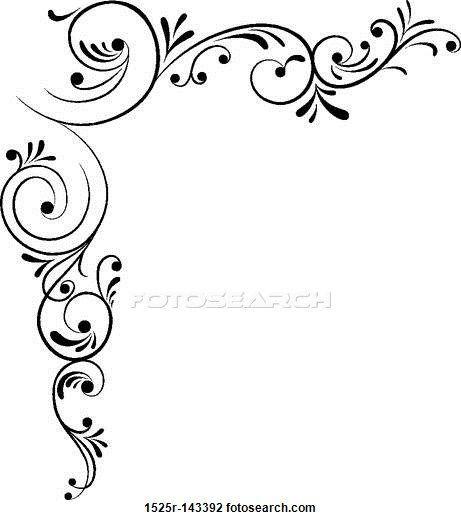 461x520 Clip Art Of Element For Design, Corner Flower, Vector 1525r 143392