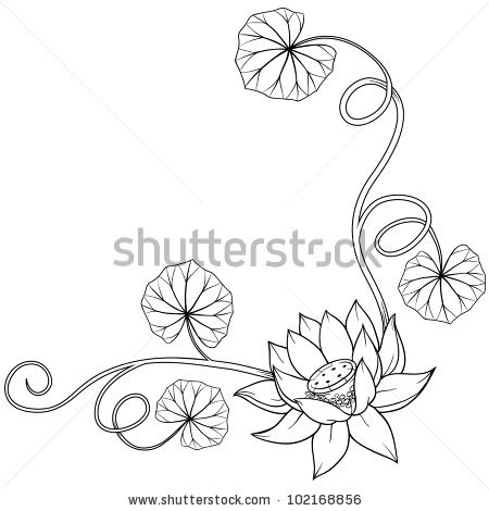 450x470 Lotus Flower Curly Frame Corner With Leaves. Isolated Monochrome