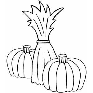 300x300 Cornstalk And Two Pumpkins Coloring Page