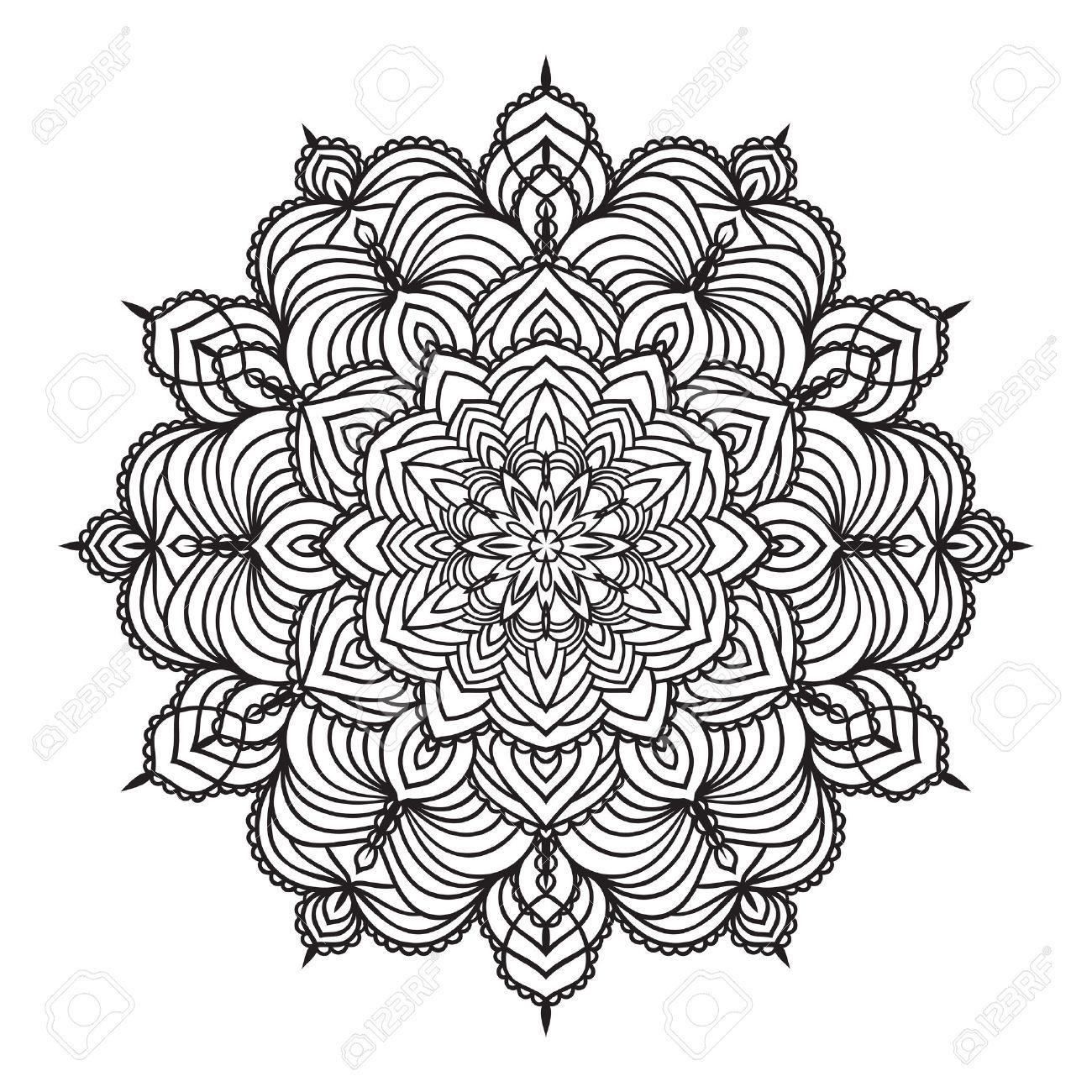 1300x1300 Hand Drawing Zentangle Element. Black And White. Flower Mandala