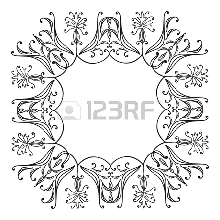 450x450 Hand Drawing Zentangle Floral Decorative Frame. Black And White
