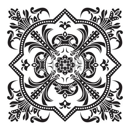 450x450 Hand Drawing Decorative Tile Pattern. Italian Majolica Style Black