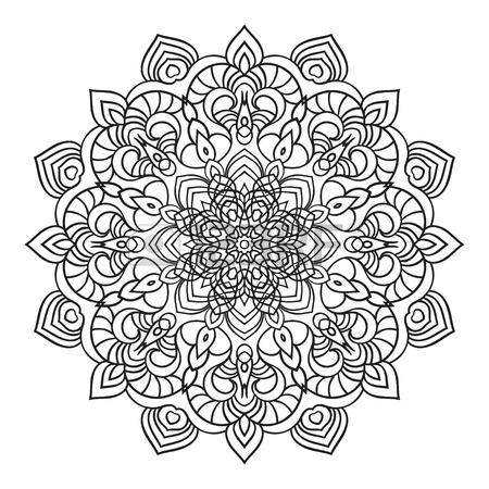 450x450 Hand Drawing Ornate Element In Eastern Style. Black And White