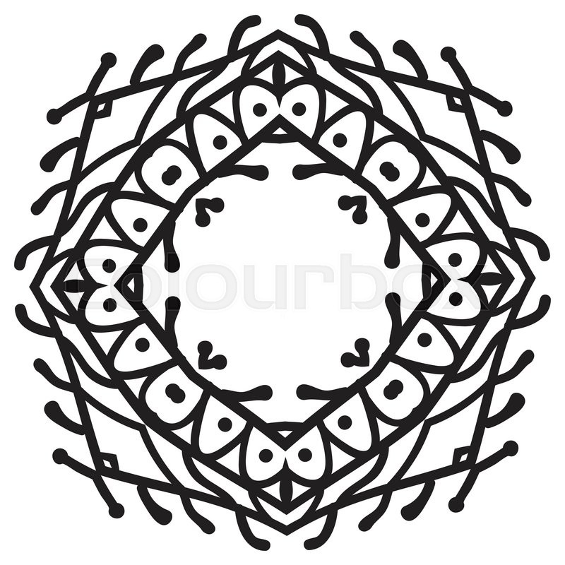 800x800 Hand Drawing Zentangle Decorative Frame. Black And White. Flower