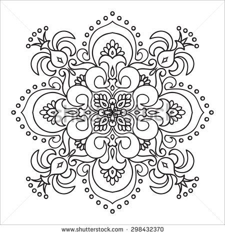 450x470 Hand Drawing Zentangle Element. Italian Majolica Style Black