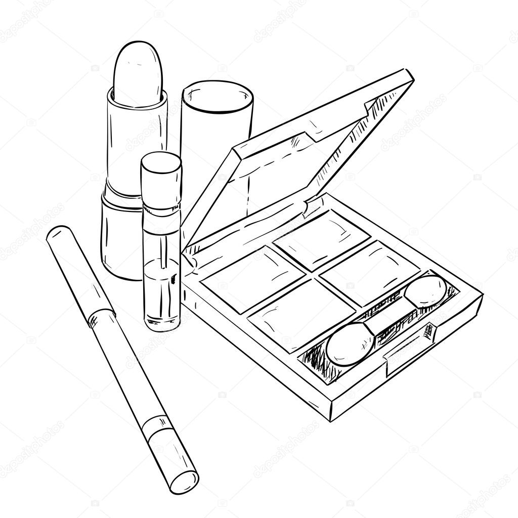 1024x1024 Sketch Set Of Cosmetic Products Stock Vector Beatwalk