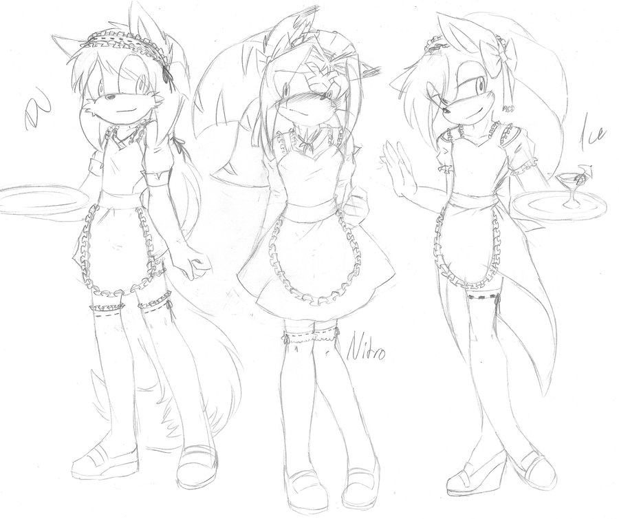 900x754 Sketch. Cute Ukes In Different Maid Costumes X3 By