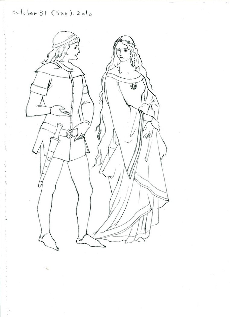 762x1048 Medieval Costume Drawing By Jikisai
