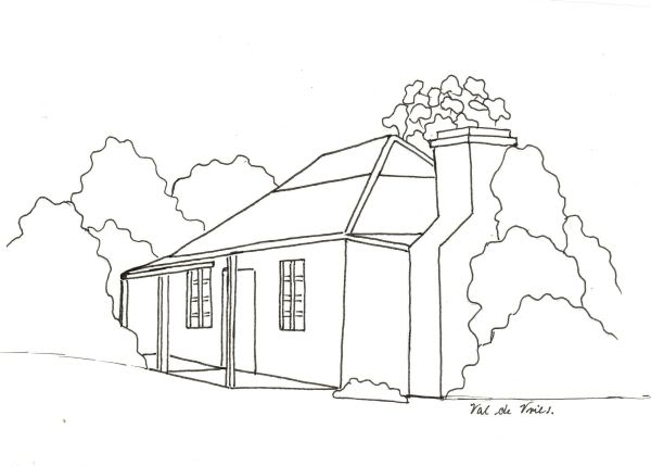 600x429 Penwork Cottage On Porcelain Tile. Artchat
