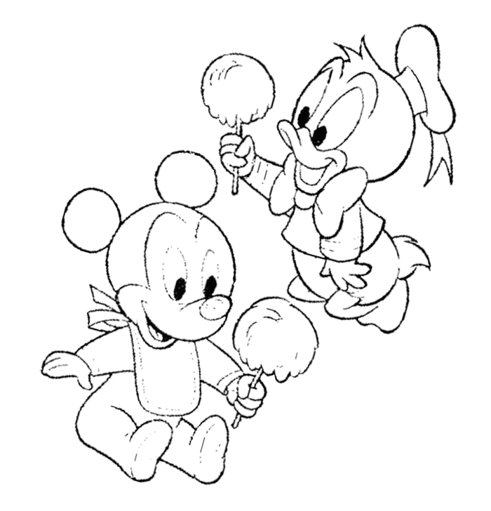 700x728 Baby Mickey Mouse Eating Cotton Candy Coloring Page Askartelu