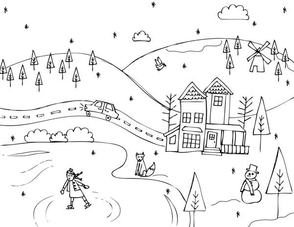 600x464 Countryside Coloring Pages