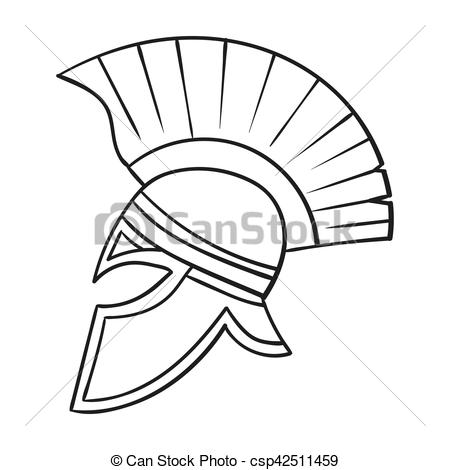 450x470 Roman Soldier's Helmet Icon In Outline Style Isolated