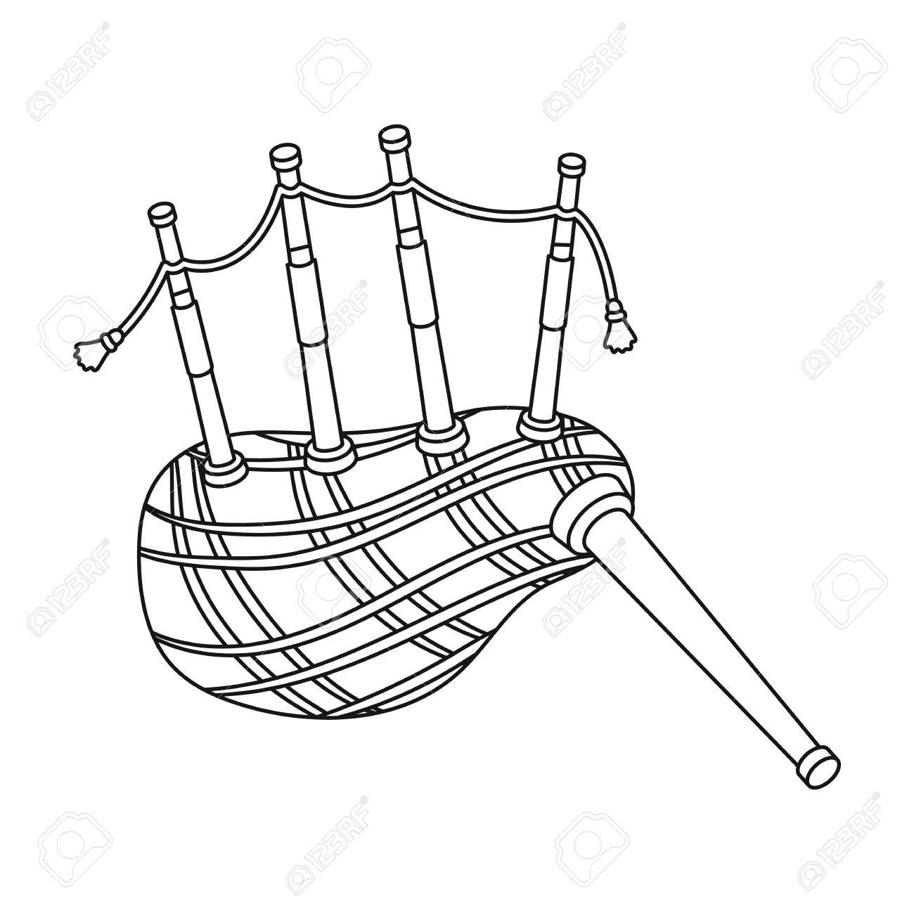1300x1300 Scottish Bagpipes Icon In Outline Style Isolated On White
