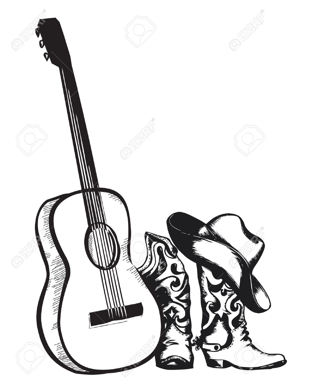 1052x1300 Western Country Music With Cowboy Shoes And Music Guitar.vector