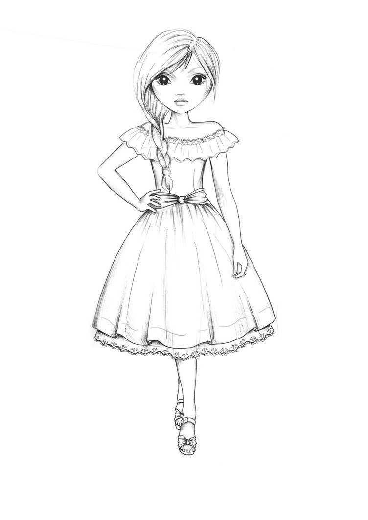 752x1063 Country Style Dress Outline By Funandcake