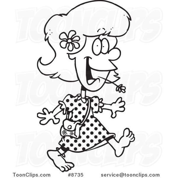581x600 Cartoon Black And White Line Drawing Of A Barefoot Country Girl