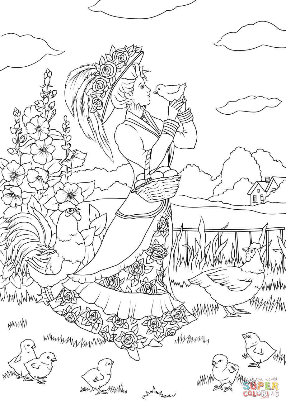 919x1300 Victorian Lady And A Chicken In The Countryside Coloring Page