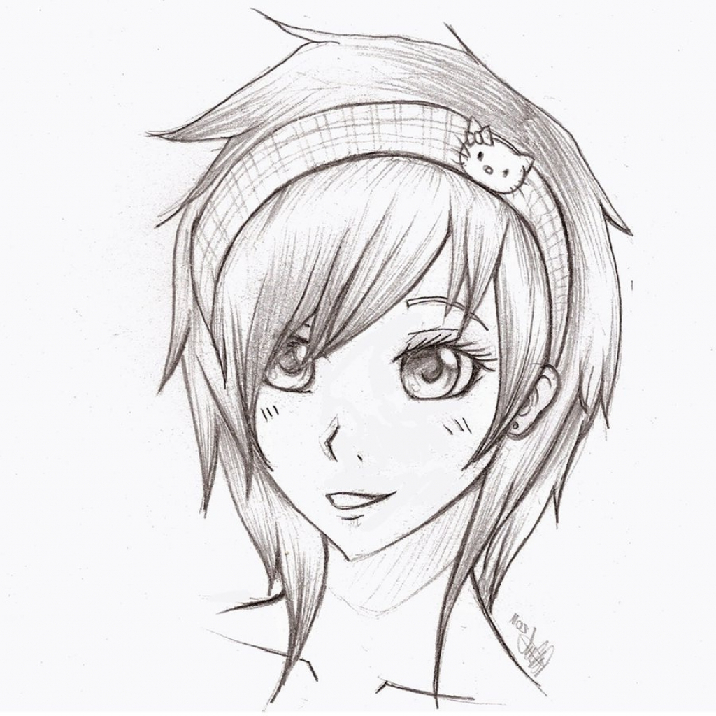 1024x1024 Cute Girl Drawing Sketch Easy Image About Girl In Simplistic