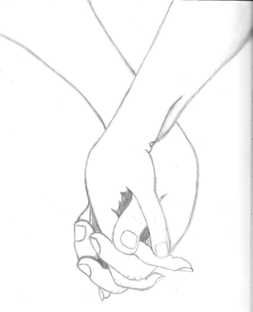 Couple Holding Hands Drawing
