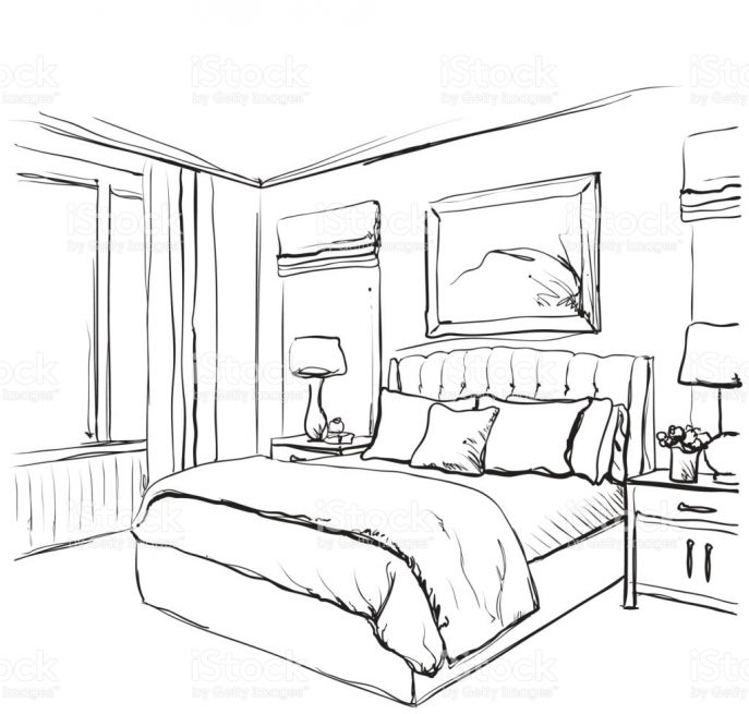 687x655 Bedroom Drawing Of Bedroom Point View Room In Drawings Fromh