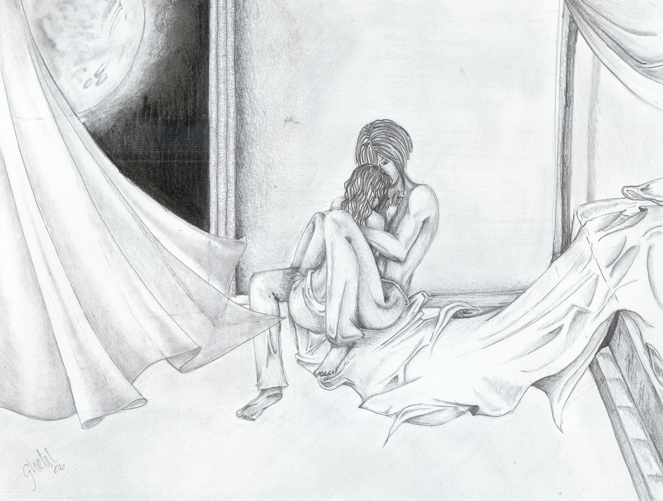 2171x1639 Hugging In Bed Drawings