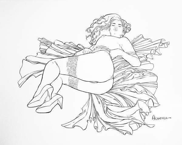 600x478 Laying On Bed Sheets Drawing By Juan Alcantara Laying On